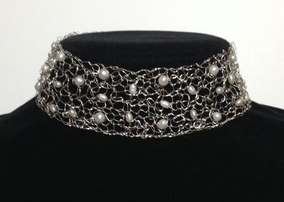 MetaLace choker in sterling silver with white freshwater pearls~ also available in 14kgf