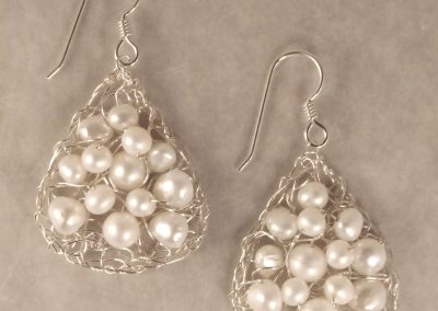 MetaLace sterling silver earrings, small pears with multi white pearls, 1 1/4""