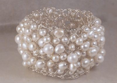 MetaLace sterling silver bangle bracelet with multi white freshwater pearls