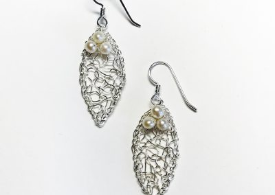 MetaLace sterling silver earrings, small leaves with white pearl cluster, 1 1/4""
