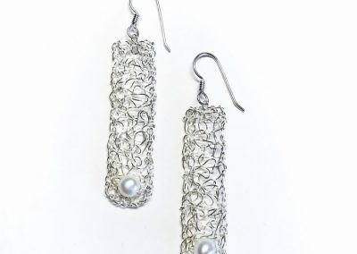 "MetaLace sterling silver earrings, dangle with white pearl, 2"" ~ also available in 14kgf"