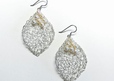 MetaLace sterling silver earrings, large leaves with white pearl cluster, 1 1/2""