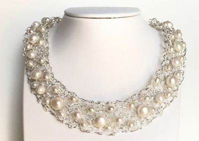 "MetaLace sterling silver necklace with white freshwater pearls, 16-18"" with extender"